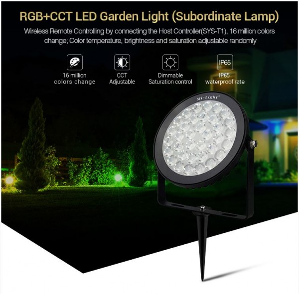 Synergy 21 LED Subordinate Garten Lampe 15W RGB+CCT mit Funk und WLAN IP65 24V Milight/Miboxer*
