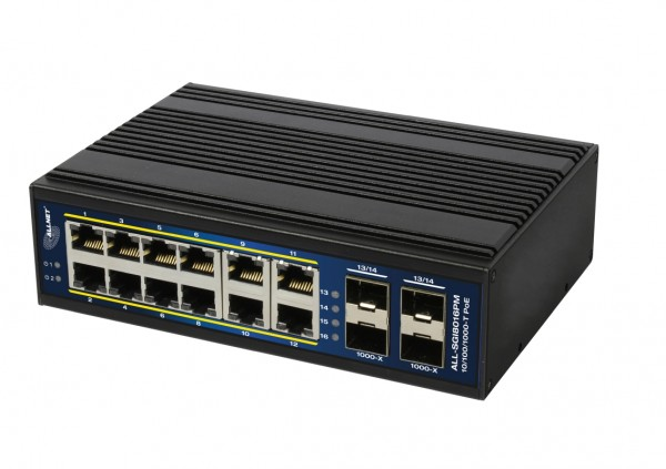 "ALLNET Switch managed L2+/L3 industrial 12 Port Gigabit / 12x PoE / 4x SFP / Lüfterlos / DIN / IP40 / ""ALL-SGI8016PM"""