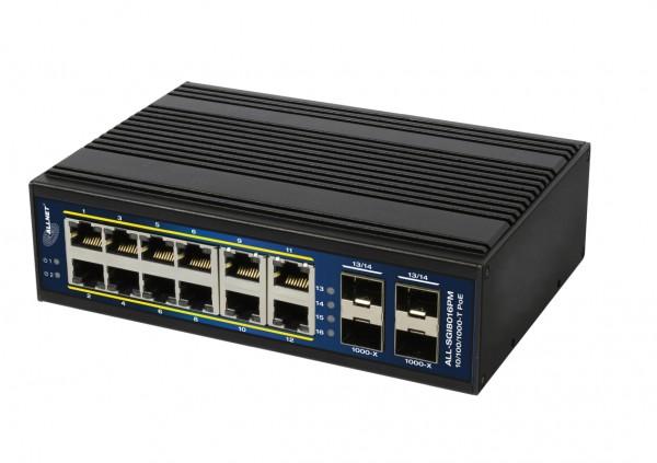 "ALLNET Switch managed L2+/L3 industrial 12 Port Gigabit / 12x PoE / 4x SFP / Lüfterlos / DIN / IP40 / ""ALL-SGI8016PM"""