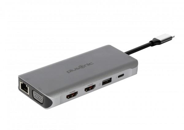 Plusonic USB-C Docking Adapter 8in1 with HDMI/VGA/LAN/USB