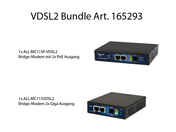"ALLNET ALL-MC115-VDSL2 & ALL-MC115P-VDSL / 100 Mbit Mini VDSL2 Modem ""Bundle"" ""KEIN ISP BRIDGE-MODEM"""