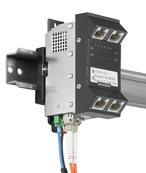 Microsens Gigabit Ethernet ruggedized Micro-Switch, Hutschiene, vertikal, PoE+, 5xRJ45, 1xSFP, MS440219PMXH-48G6+