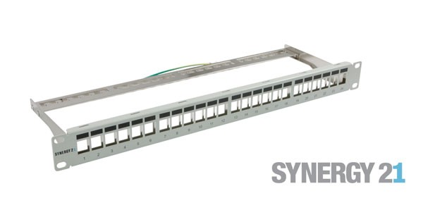 "Patch Panel 24xTP, CAT6A, incl.Keystone Slim-line , 19"", 1HE(t152mm), Lichtgrau, Synergy 21,"