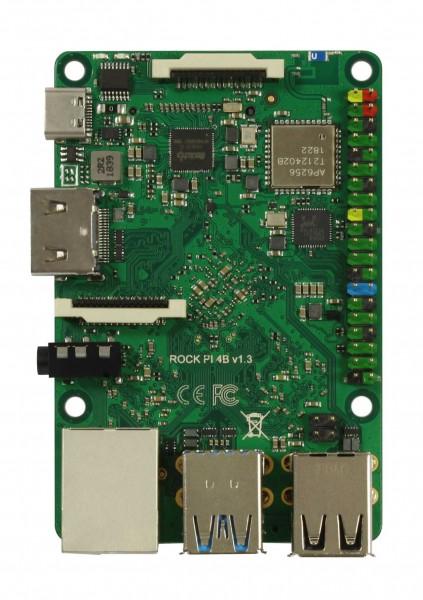 Rock Pi 4 Model B 1GB V1.4 (mit Dualband 2,4/5GHz WLAN/Bluetooth 5.0) mit UFL Stecker