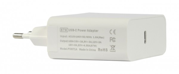 ALLNET Ersatznetzteil QC USB-C PD Netzteil Power Supply87Watt 1x USB Typ-C Typ-C**EU PLUG**