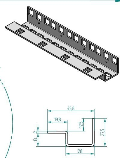 """Triton 19""""zbh. Profilschiene 12HE, Vertikal, Stückweise,"""