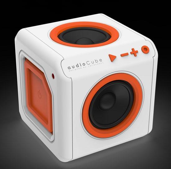 Allocacoc AudioCube Portable EU, Bluetooth 4.0, weiss/Orange, mit Akku