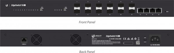 Ubiquiti EdgeSwitch 16, 12 SFP+ Ports, 4 RJ45 Ports, ES-16-X