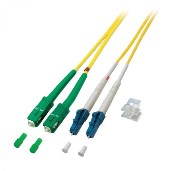 LWL-2-Faser-Patchk. 5mtr.LC-SC/(APC 8), 9/125um, Schrägschliff SC