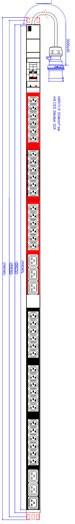 """ALLNET 19""""zbh. Steckdosenleiste,36xKaltgeräte(C13)+6xC19->Stecker(CEE 32A), 2xLeitungsschutzschalter C16A, Bachmann"""