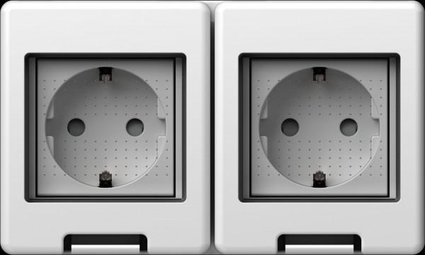 TEM Serie Modul Aufputzgehäuse IP55 BOX CUBO 2*2M Schutzkontakt 2x