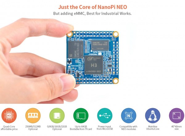 FriendlyELEC NanoPi NeoCore LTS- 512MB 8GB EMMC QuadCore Allwinner H3 (pins not soldered)
