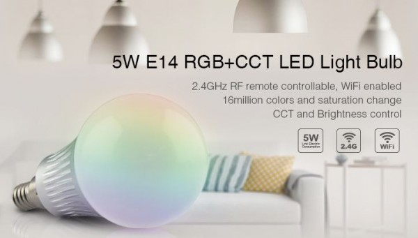 Synergy 21 LED Retrofit E14 5W RGB-WW Lampe mit Funk und WLAN *Milight/Miboxer*