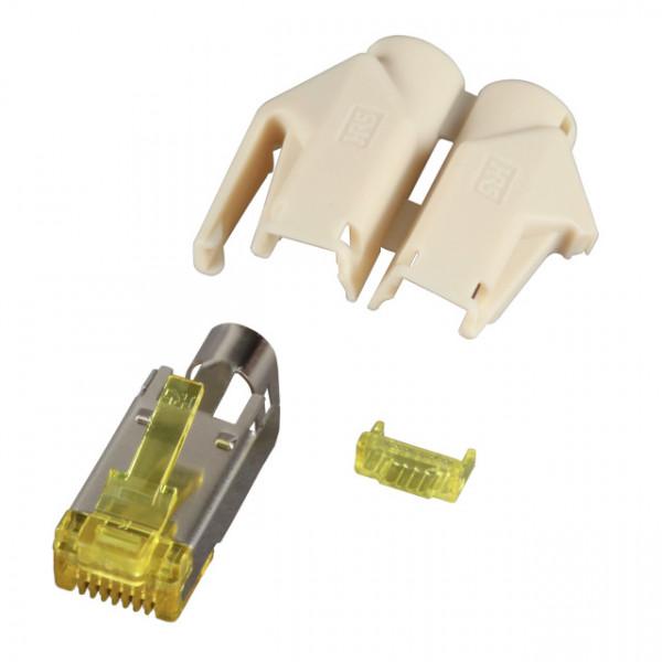 TP-Stecker STP Hirose, CAT6A(TM31),100-PACK, incl.Knickschutz, Beige