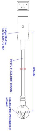 Bachmann Zuleitung H05VV-F3G1,50mm² sw, 3,0m, CEE7/7 / C19