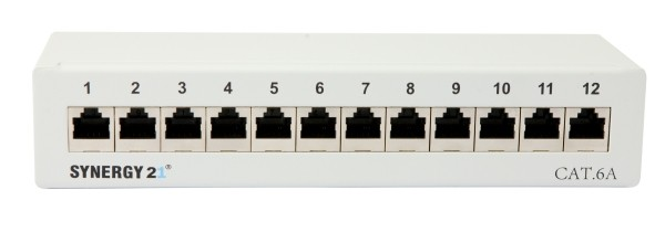 Patch Panel 12xTP, CAT6A, 500Mhz, Aufputz , Lichtgrau, Synergy 21,