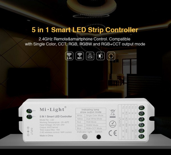 Synergy 21 LED Controller RGB-WW (RGB-CCT) DC12/24V Strip/Panel 5in1*MiLight*