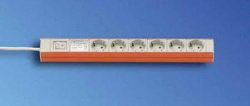 """Knürr zub.Steckdosenleiste, 7xDosen(CEE7)->Stecker(CEE7), 19"""", Schalter,"""