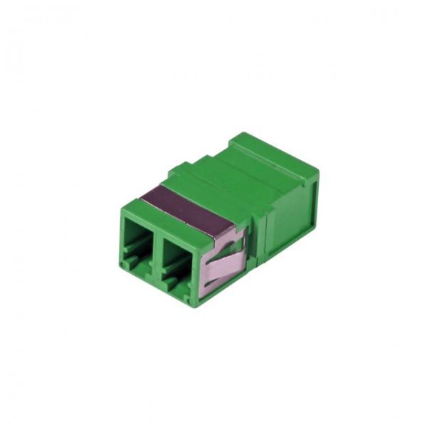 LWL-Kupplung, LC(APC)-Buchse/LC(APC)-Buchse, 9/125u Singlemode, duplex, PVC, grün, ohne Flansch,