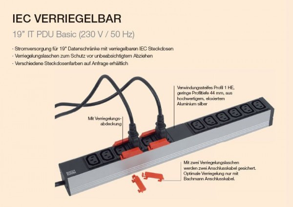 "ALLNET 19""zbh. Steckdosenleiste,12xKaltgeräte(C13)->Stecker(C20), mit Verriegelungssystem, Bachmann,"