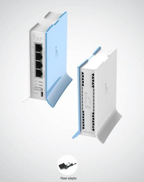 MikroTik home Access Point RB941-2nD-TC, hAP lite TC, 2,4 GHz, 4x 10/100, Tower Case