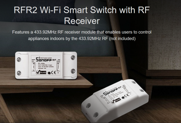 Sonoff · Switch · WiFi Smart Switch · RFR2 - 1 Kanal Schaltaktor WiFi/433MhZ