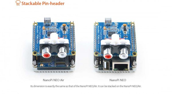 FriendlyELEC NanoPi Neo zbh. NanoHat Audio Shield PCM5102A