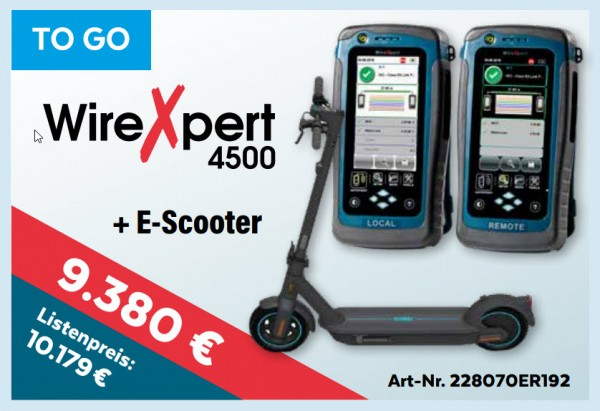 softing(Psiber) NetXpert 4500+E-Scooter, Promo bis 15.1.2020, Mess-Menü, To Go,
