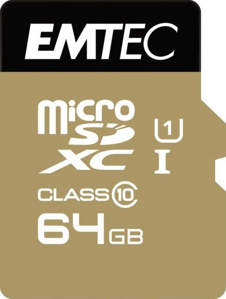 Flash SecureDigitalCard (SD) 64GB *EMTEC* MicroSDXC 64GB EMTEC + Adapter CL10 Gold+ UHS-I 85MB/s Blister