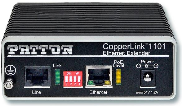 Patton CopperLink 1101E PoE Remote Extender, RJ45 Line, Line Powered
