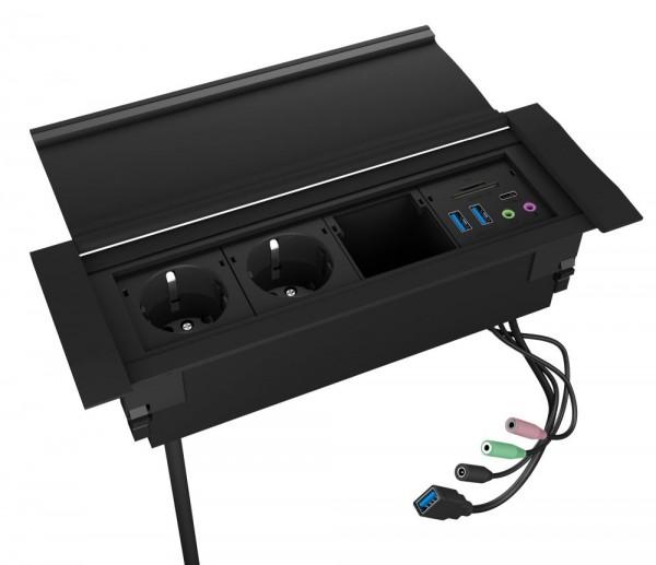 ICY Box Tischsteckdosenleiste, USB-Hub, Kartenleser und Audio, IB-TS-401-4,