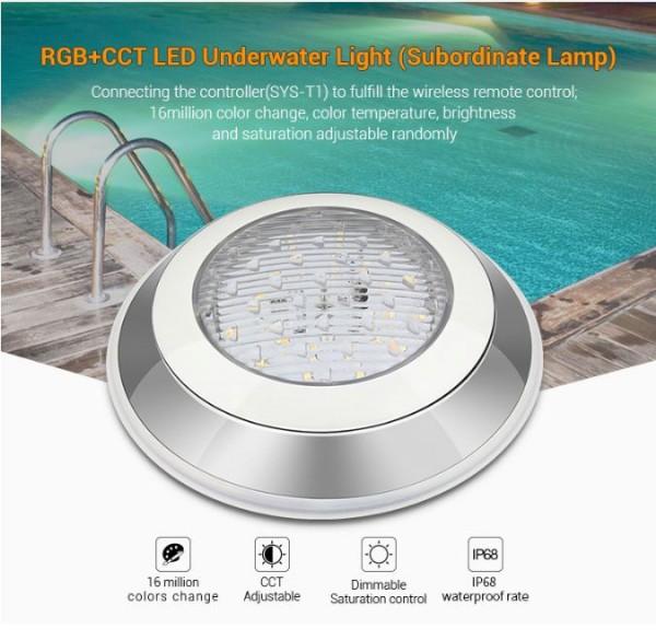 Synergy 21 LED Subordinate Poolleuchte 12W RGB+CCT mit Funk und WLAN *Milight/Miboxer*
