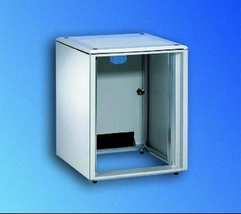 Knürr Schrank Smaract 9HE, B600/T600, T-Nut, Lichtgrau, ohne Fronttür,
