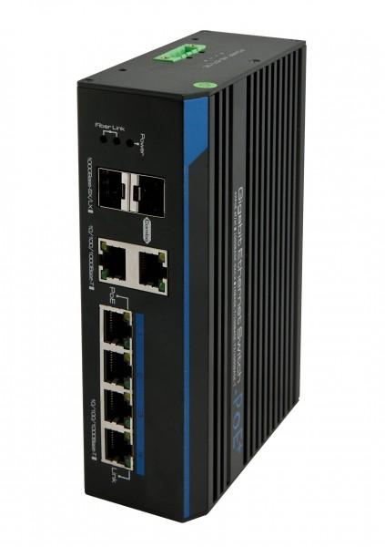 "ALLNET Switch unmanaged industrial 6 Port Gigabit 150W / 3x PoE+ / 1x PoE bt / 2x LAN oder 2x SFP / Lüfterlos / DIN/ IP40 / ""ALL-SGI8206v2P"""