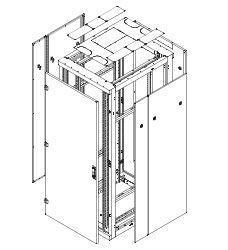 """Triton 19""""Schrank Flat-Pack, Front/Rückrahmen B800mm, 47HE, Rahmen mit Tür(2-teilig Glas), lichtgrau,"""