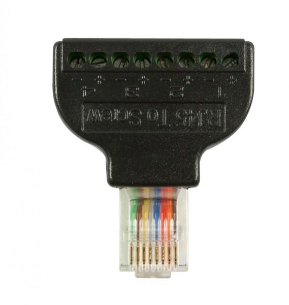 TP-Stecker TP, ungeschirmt, RJ-45 -> Terminalblock Schraubklemmen mit Schrauenzieher