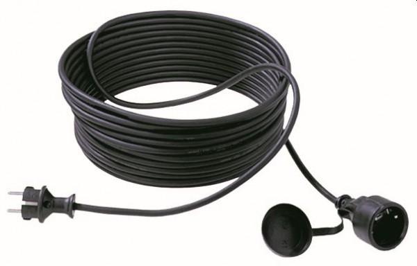 Bachmann Kabel, Verlängerung, Dose(CEE7)->Stecker(CEE7), 10m, schwarz, mit Deckel,