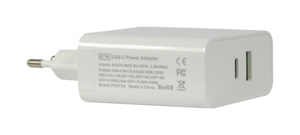 ALLNET Ersatznetzteil QC USB-C PD Netzteil Power Supply 87 Watt 1x USB Typ-A, 1x USB Typ-C**EU PLUG**