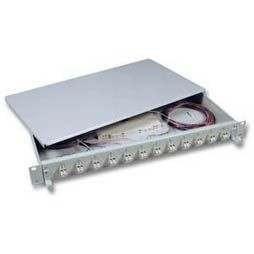 "LWL-Patchpanel Spleisbox,19"",24xLC-Duplex, 50/125um, OM4, ausziehbar"