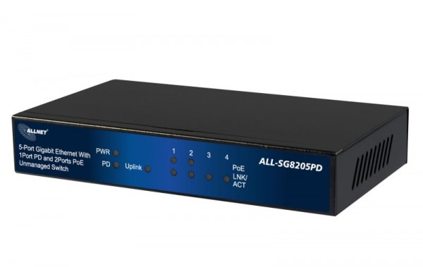 ALLNET ALL-SG8205PD / unmanaged 5 Port Gigabit Switch, 1x AT 30W PD IN, 2x PoE out, 2x LAN out