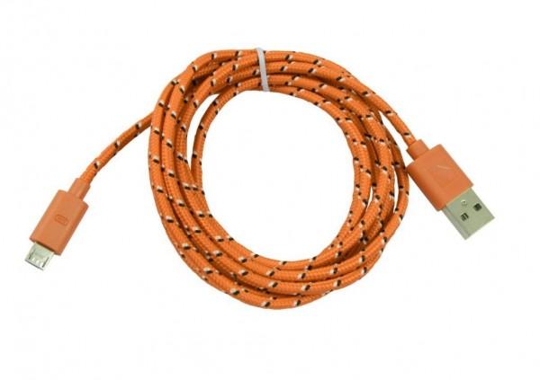 Patchkabel USB2.0, 2m, A(St)/MicroB(St), textil/orange, Synergy 21,