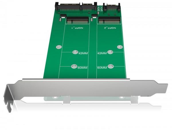ICY Box Konverter-Board, SATA zu 2x M.2 SATA, IB-CVB512-S