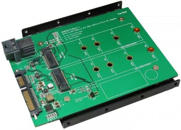 ICY Box Konverter, 2xM.2 SSD->1x SATA III + 1x Mini SAS HD Host, IB-CVB517M2