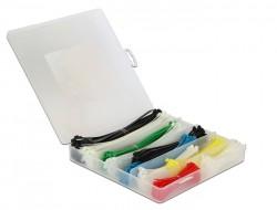 """ALLNET 19""""zbh. Kabelbinder, Sortimentsbox *farbig* 600er-Pack, Delock"""