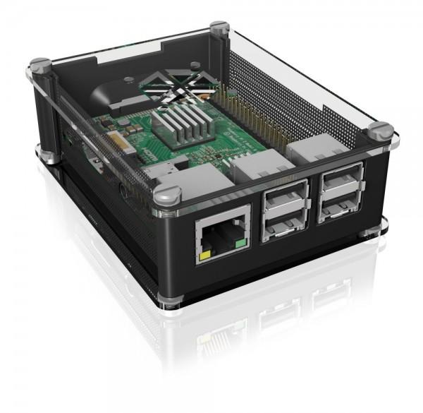 ICY Box Schutzgehäuse für Raspberry Pi® 2 und 3, schwarz, IB-RP103,