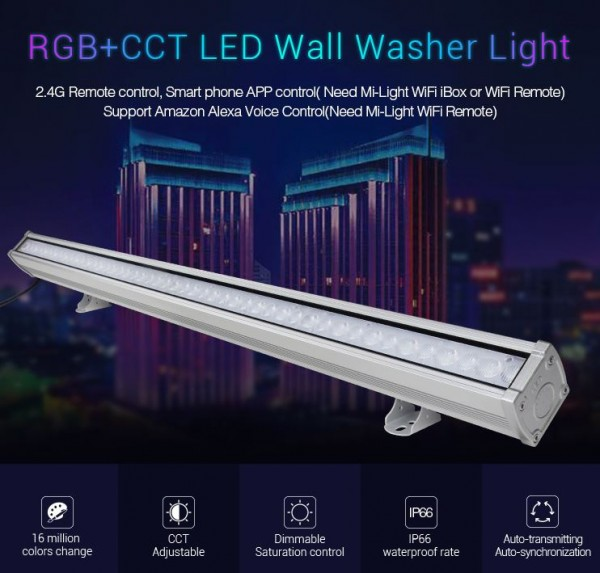 Synergy 21 LED Wallwasher 24W RGB+CCT IP66 *Milight/Miboxer*