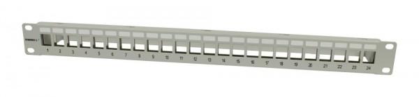 "Keystone, Modulträger, 19""Patchpanel für 24xTP-Modul, 1HE(t 94mm), Lichtgrau, Synergy 21,"