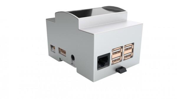 """Raspberry Pi Zubehör - Gehäuse Hutschiene / DIN Rail mit Fenster grau für Pi 3B """"aktuelles Endgerät"""""""