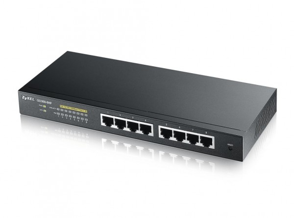 Zyxel Switch GS1900-8HP, 8x Gigabit PoE Ports, smart managed, lüfterlos, L2, 70W
