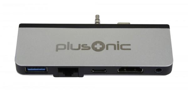 Plusonic Docking Adapter/Hub für Microsoft Surface Go, 5in1: USB 3.0/RJ45 Gigabit-Ethernet/Type-C/HDMI/AUX